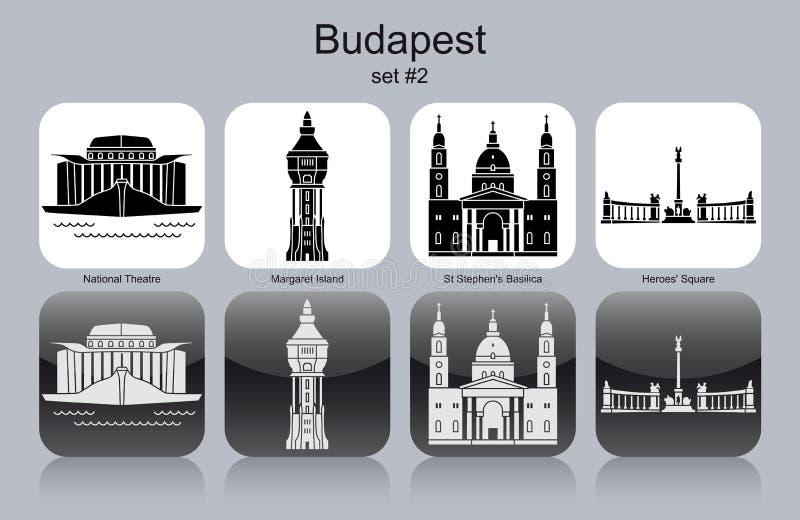 Значки Будапешта иллюстрация вектора