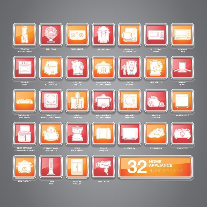 Значки бытового устройства плоские иллюстрация штока