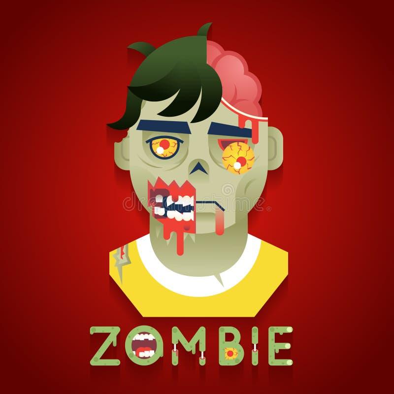 Значки бюста характера роли зомби партии хеллоуина иллюстрация вектора