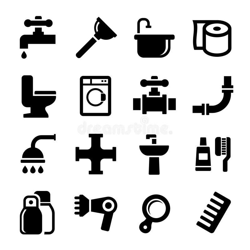 Значки ванной комнаты установленные на белую предпосылку. Вектор иллюстрация штока