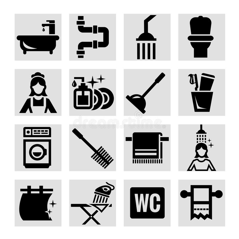 Значки ванной комнаты иллюстрация вектора