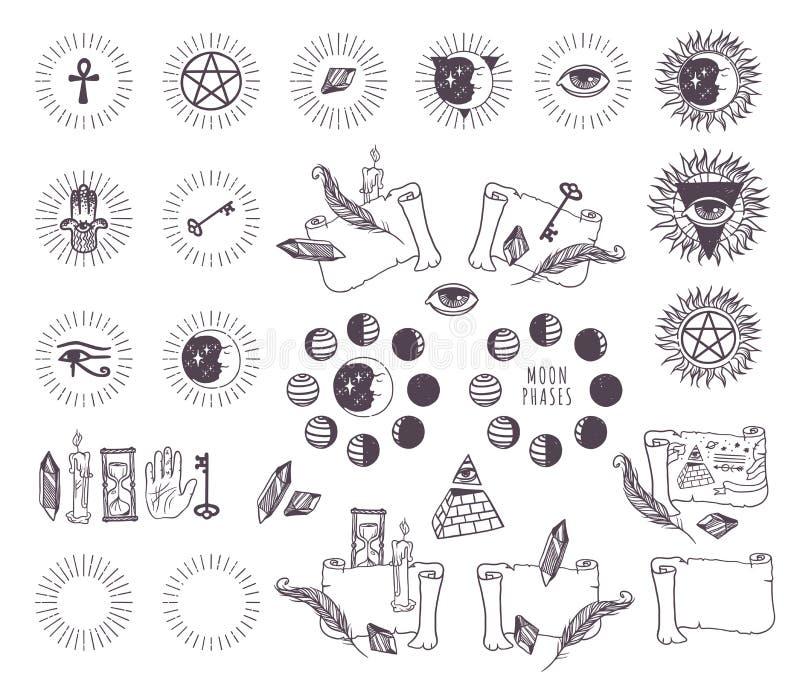 Значки вектора астрологии эзотерические иллюстрация штока