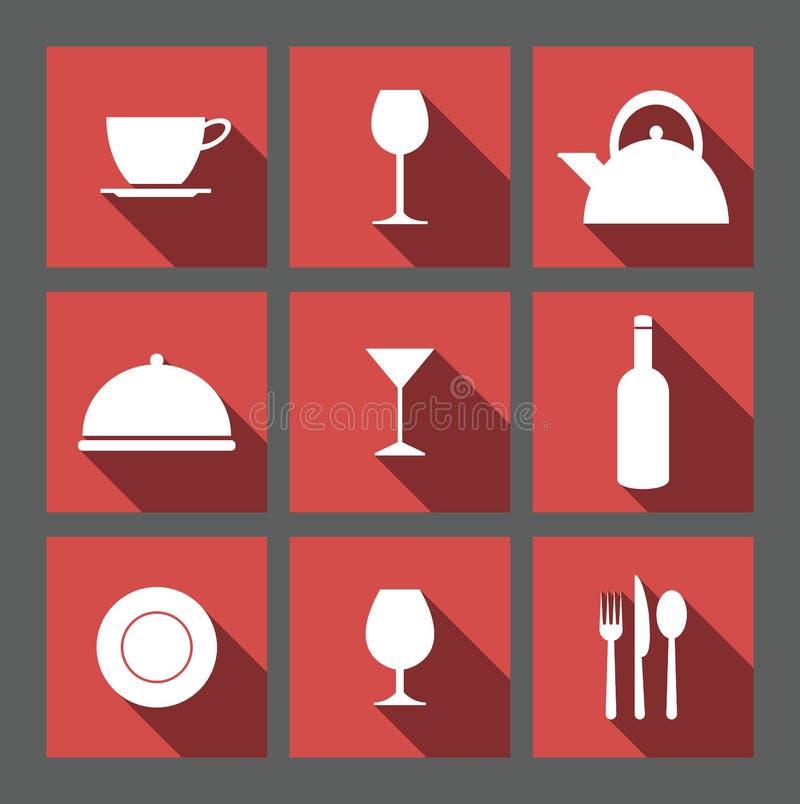 Значки вектора еды & питья иллюстрация штока