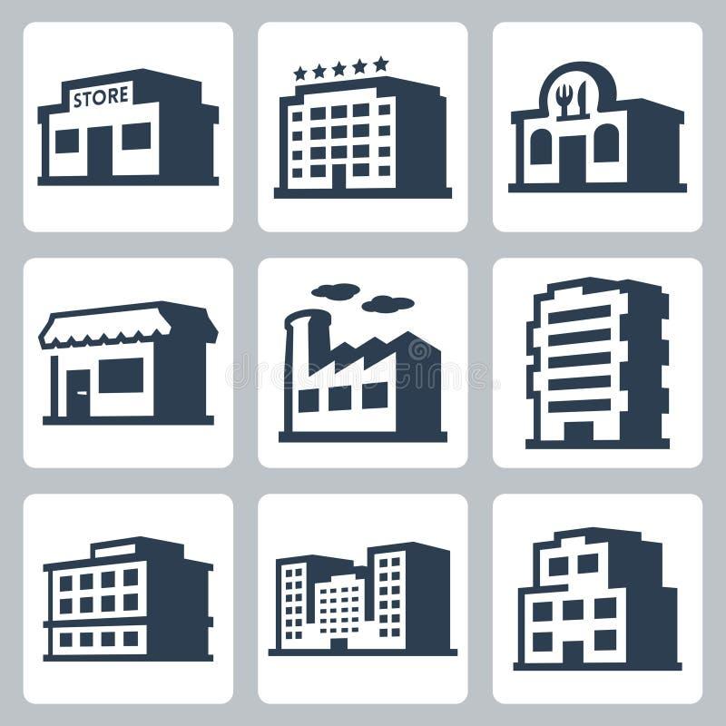 Значки вектора зданий, равновеликий стиль #1 иллюстрация штока
