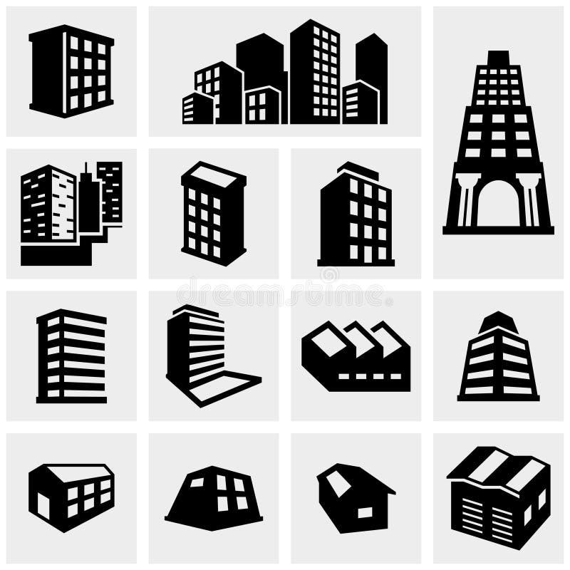Значки вектора здания установленные на серый цвет иллюстрация вектора