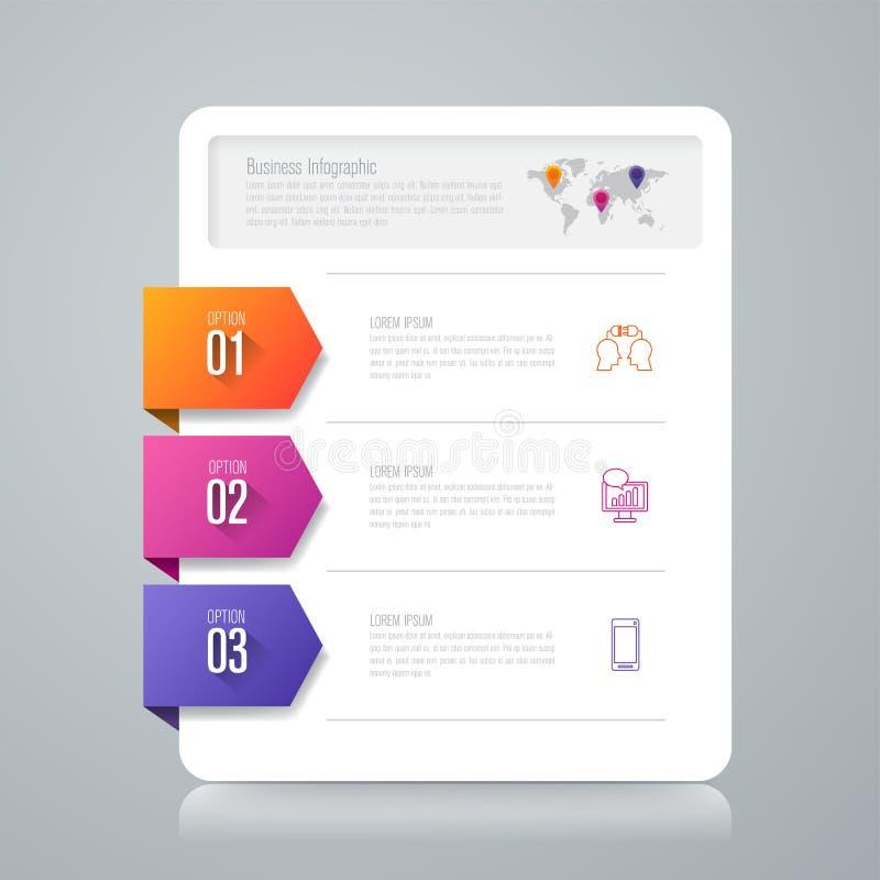 Значки вектора и дела дизайна Infographics с 3 вариантами иллюстрация вектора