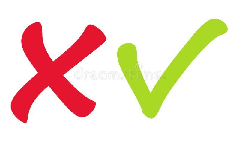 Значки вектора красные и зеленые контрольной пометки иллюстрация штока