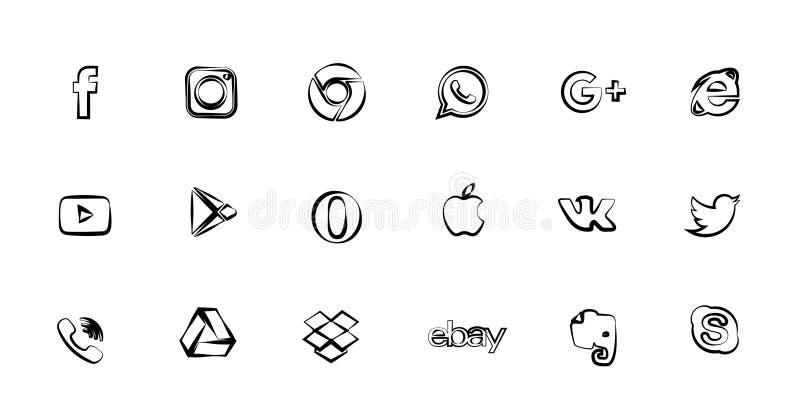 Значки вектора любят, знонят по телефону, камера и птица для социальных средств массовой информации, вебсайтов, интерфейсов Как з иллюстрация штока