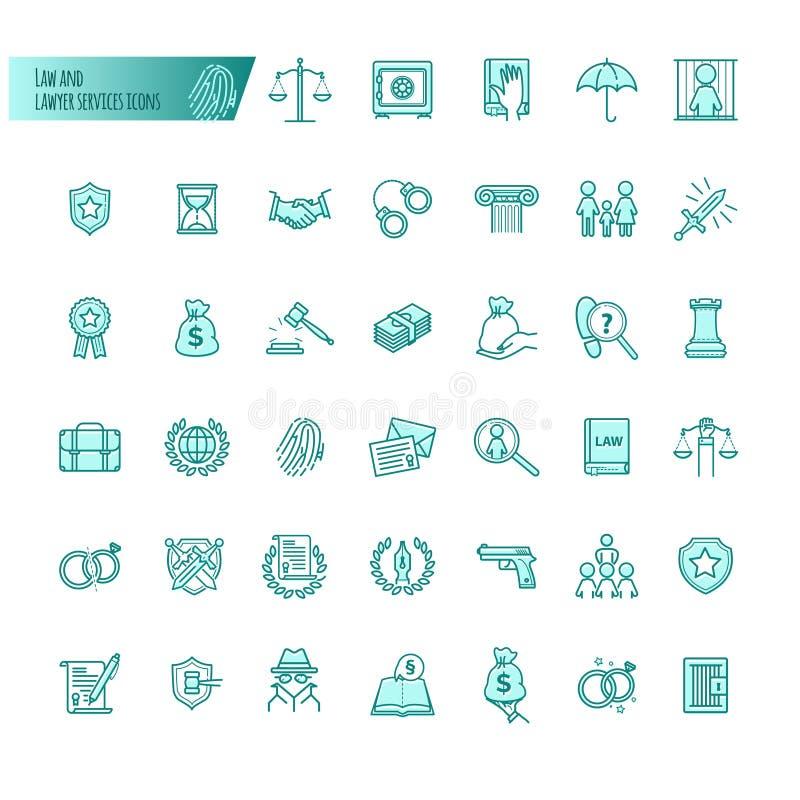 Значки вектора обслуживаний закона и юриста установили для веб-дизайна, передвижного app, графического дизайна бесплатная иллюстрация
