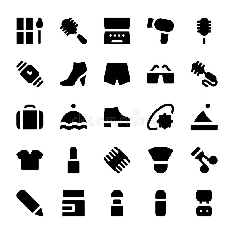 Значки 8 вектора одежд иллюстрация штока
