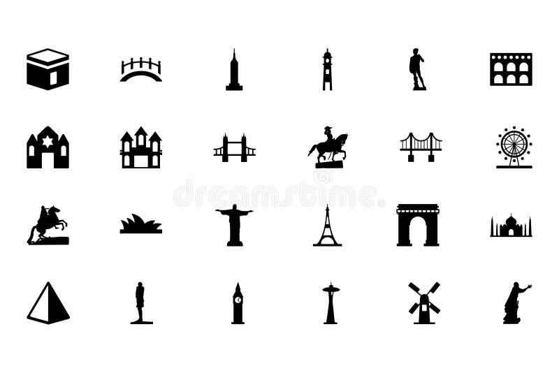 Значки 1 вектора памятников иллюстрация вектора