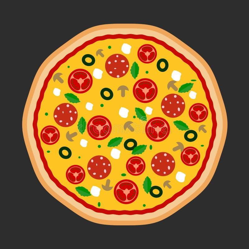 Значки вектора пиццы плоские изолированные на темной предпосылке иллюстрация штока