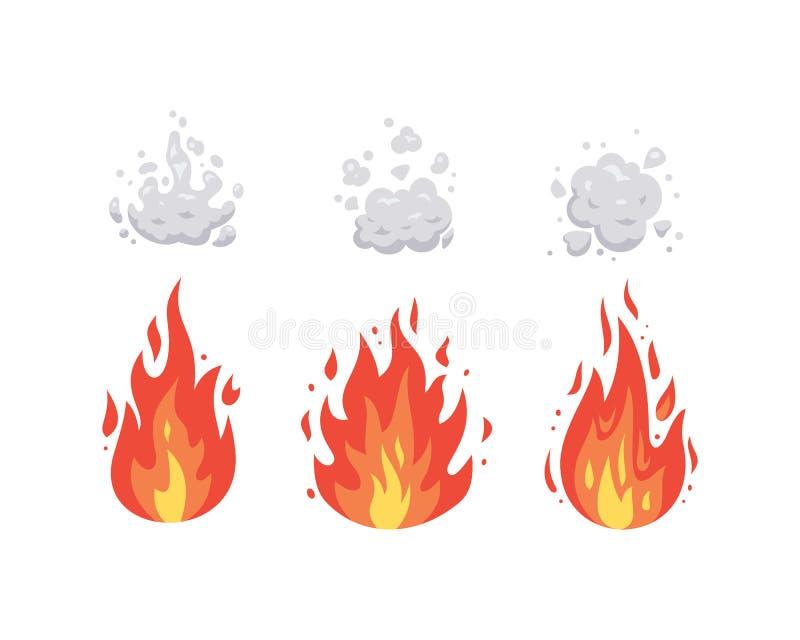 Значки вектора пламени огня в стиле мультфильма Пламена различных форм Набор файрбола, символы пылать иллюстрация вектора