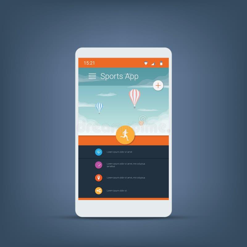Значки вектора пользовательского интерфейса smartphone отслежывателя фитнеса для применений спорт иллюстрация штока