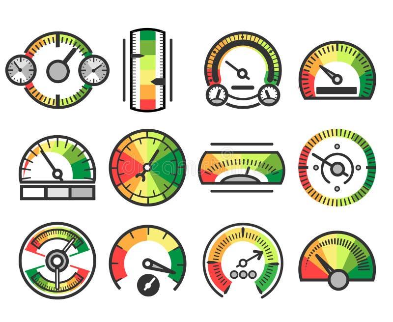 Значки вектора прибора измеряя датчика Измерение и измерение, метр ровного индикатора подписывают иллюстрация вектора