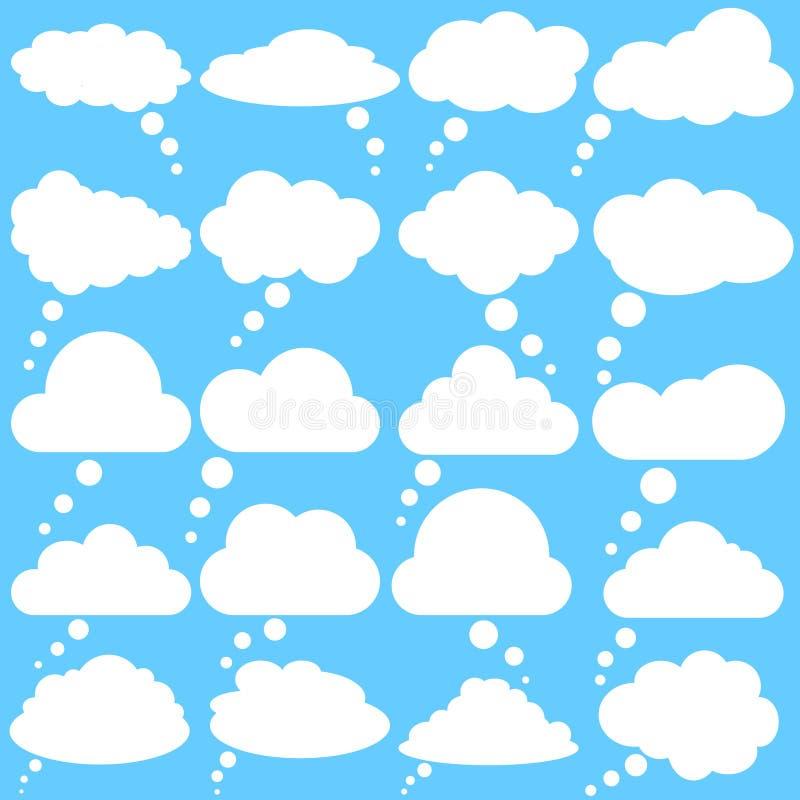 Значки вектора пузырей речи облака E Набор иллюстрации вектора пузырей речи облака иллюстрация штока