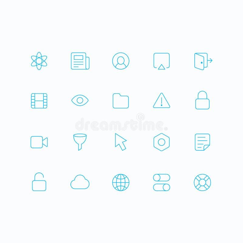 Значки вектора плана для сети и черни бесплатная иллюстрация
