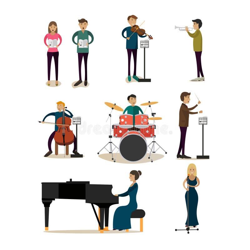 Значки вектора плоские установленные людей симфонического оркестра иллюстрация вектора