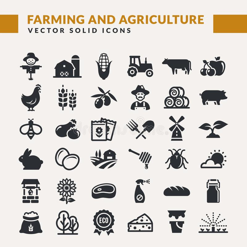 Значки вектора сельского хозяйства и земледелия иллюстрация вектора