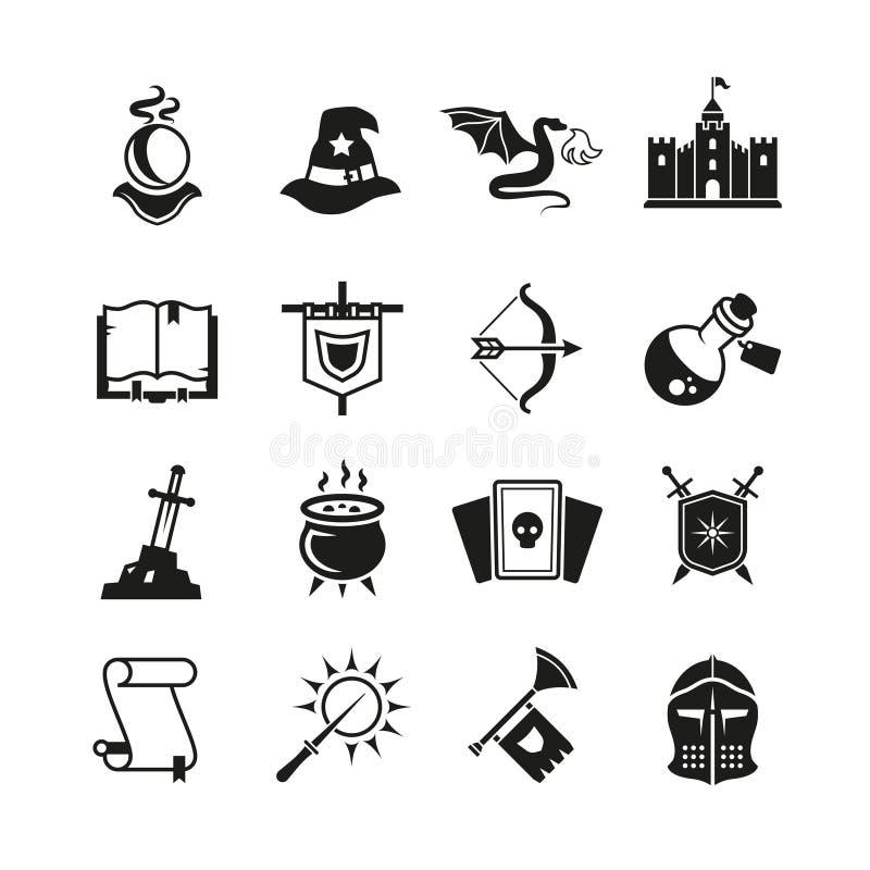 Значки вектора сказа фантазии средневековые Волшебство тайны и пиктограммы рыцаря иллюстрация вектора