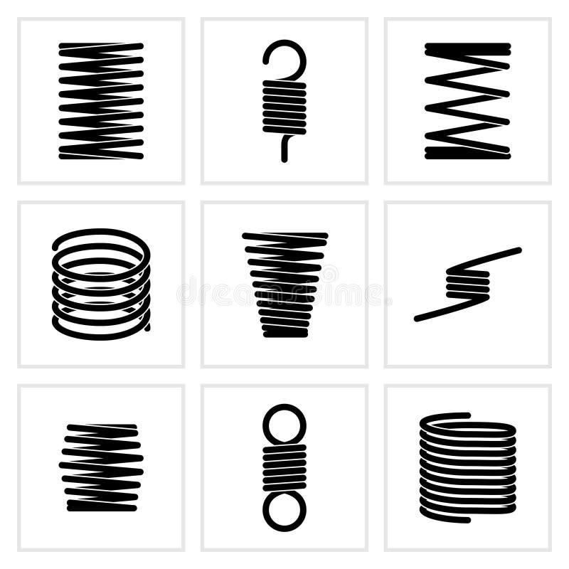 Значки вектора спиральной пружины стального провода гибкие спиральные бесплатная иллюстрация