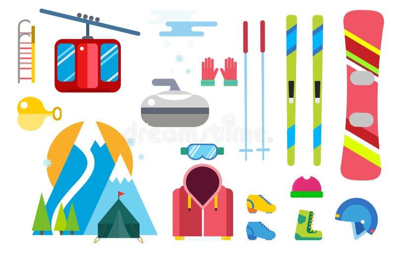 Значки вектора спорта зимы установили иллюстрацию деталя элемента ботинок перчатки шлема элементов инструмента одежд сноубординга иллюстрация вектора