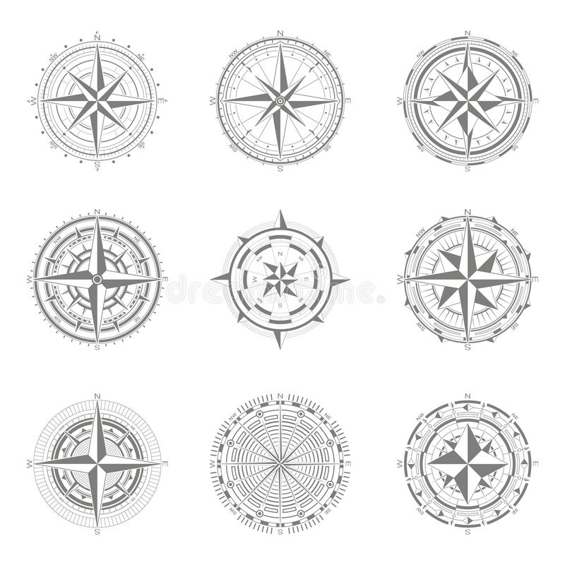 Значки вектора с лимбом картушки компаса иллюстрация штока