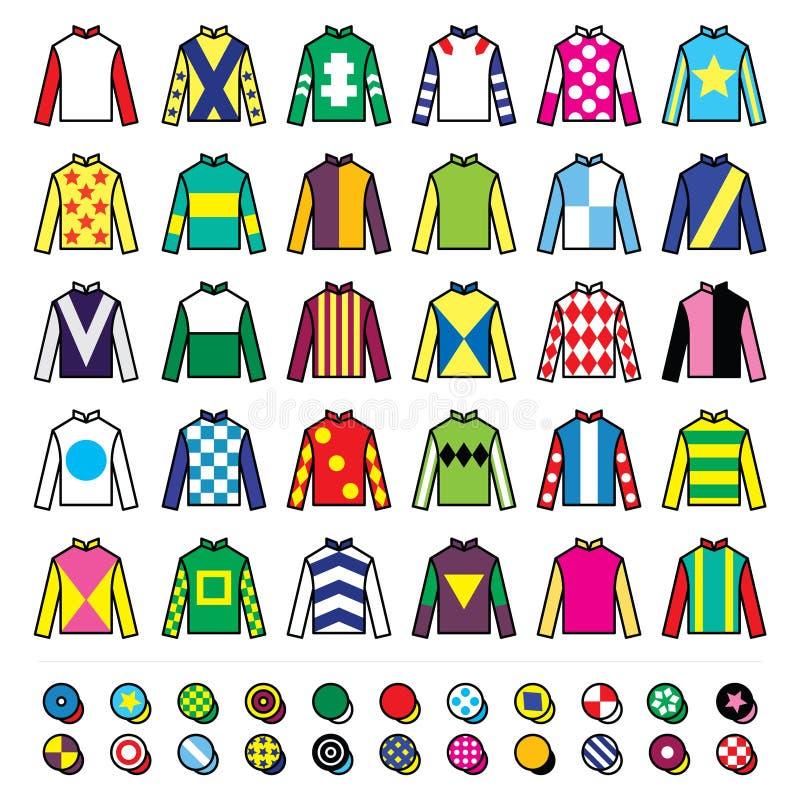 Значки вектора установили - дизайны жокея лошадиных скачек равномерные изолированный на белизне бесплатная иллюстрация