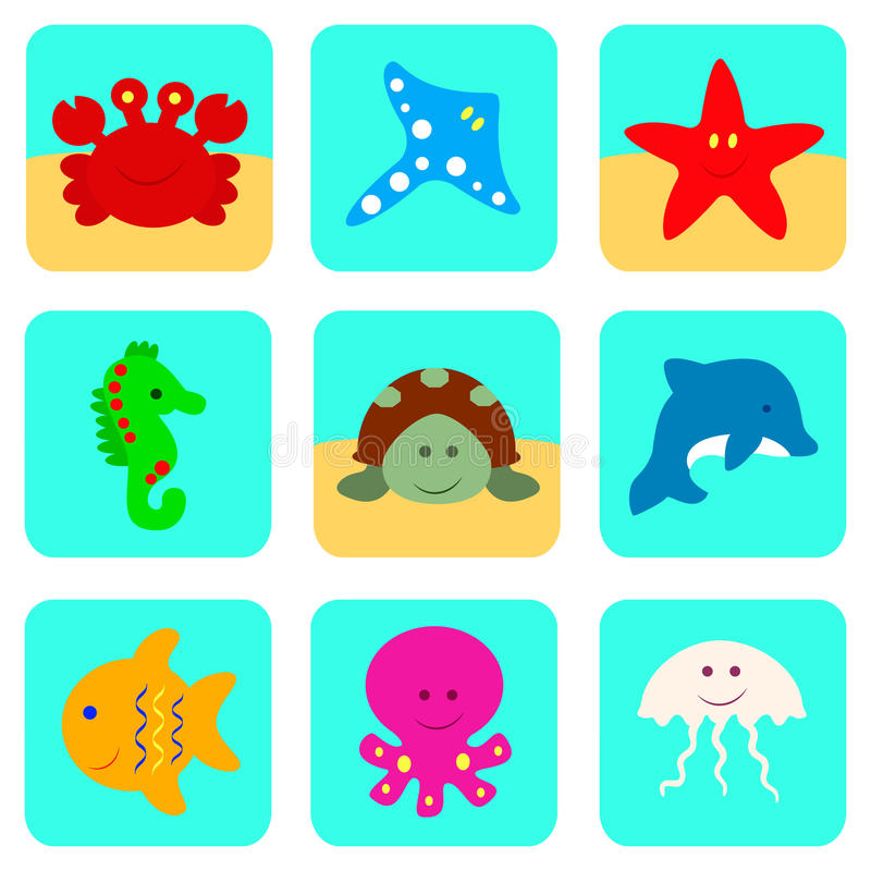 Значки вектора установили с персонажами из мультфильма моря и океана иллюстрация вектора