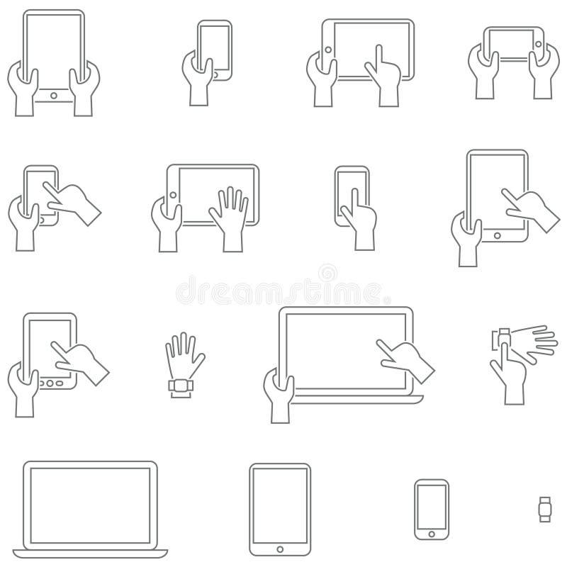 Значки вектора установили устройства с экраном касания иллюстрация штока