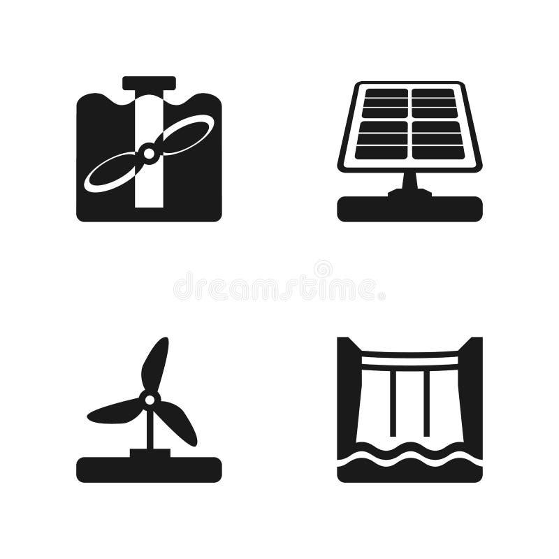 Значки вектора установленные с ветром, солнечные, приливные и гидроэлектричеством изолировали иллюстрацию бесплатная иллюстрация