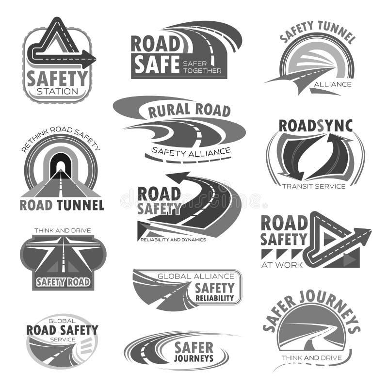 Значки вектора установленные для конструкции обеспечения безопасности на дорогах бесплатная иллюстрация