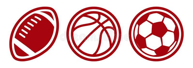 Значки вектора футбольных мячей баскетбола американского футбола иллюстрация штока