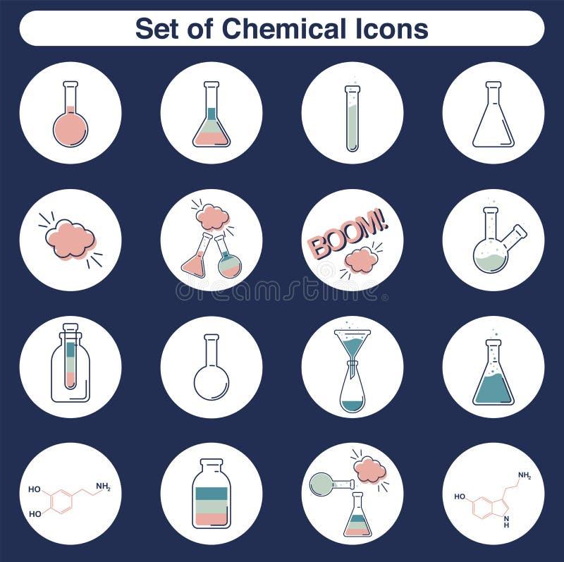 Значки вектора химические установили пробирки и склянок плана плоских для лаборатории бесплатная иллюстрация