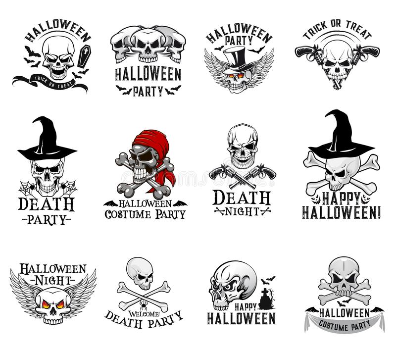 Значки вектора черепа партии костюма хеллоуина иллюстрация штока
