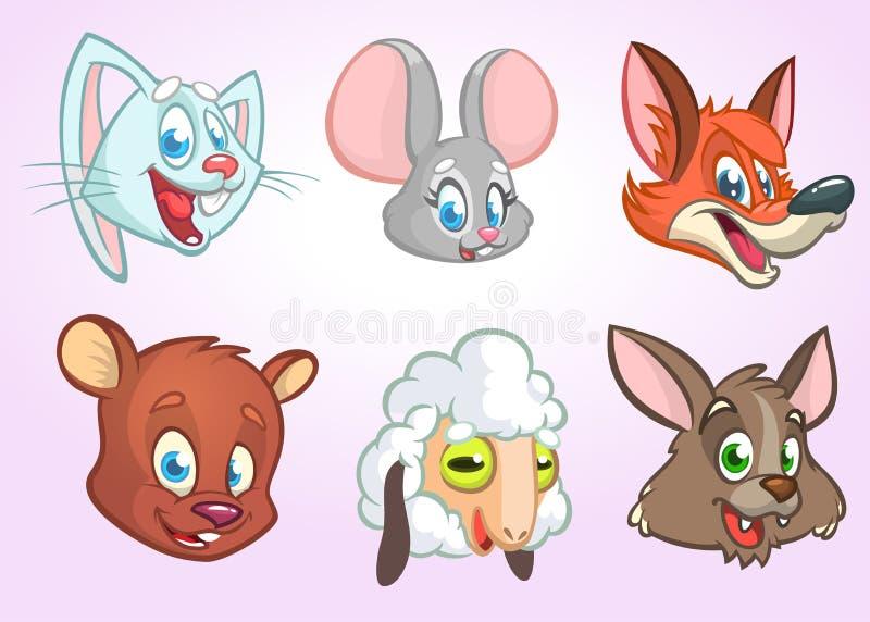 Значки вектора шаржа животные головные Комплект вектора животноводческих ферм одичалых и включая кролика зайчика, мышь, лису, мед иллюстрация штока