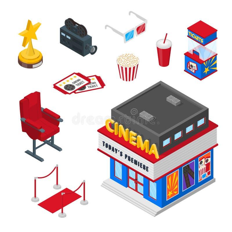 Значки вектора 3d театра кино равновеликие и набор элементов дизайна Билеты, иллюстрация попкорна смотреть концепцию кино иллюстрация вектора
