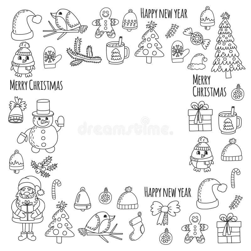 Значки вектора Doodle Санта Клауса Нового Года рождества представляют птицам расцветку снежинки колокола рождества конфеты рождес бесплатная иллюстрация