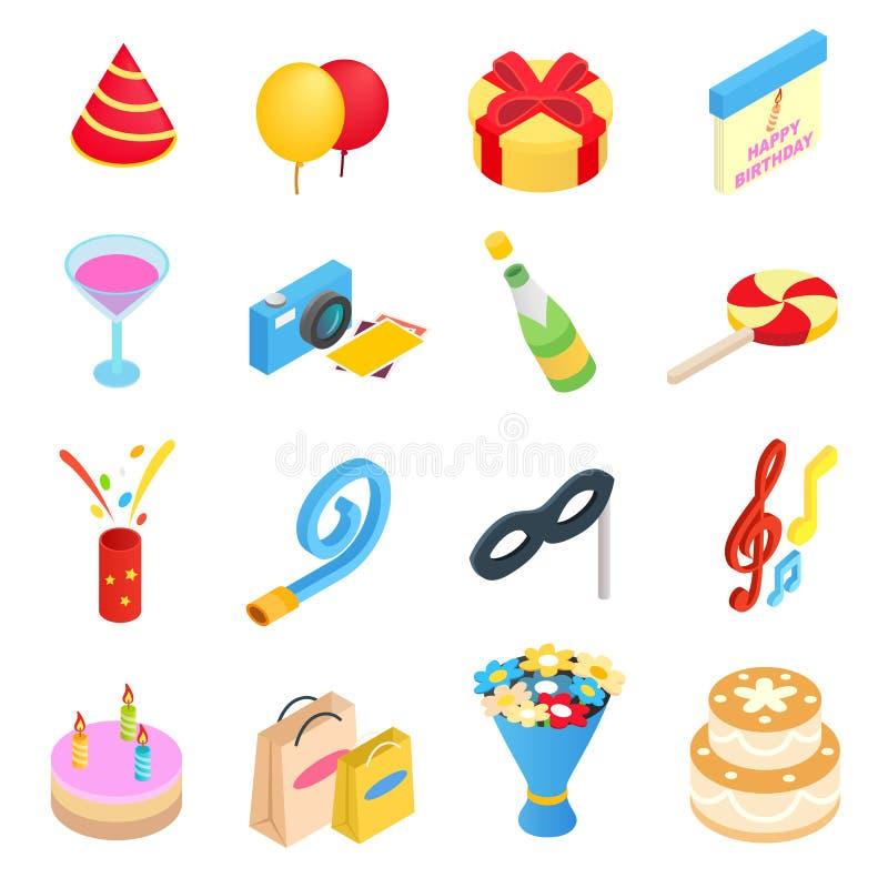 Значки вечеринки по случаю дня рождения равновеликие иллюстрация штока