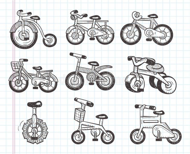 Значки велосипеда Doodle бесплатная иллюстрация