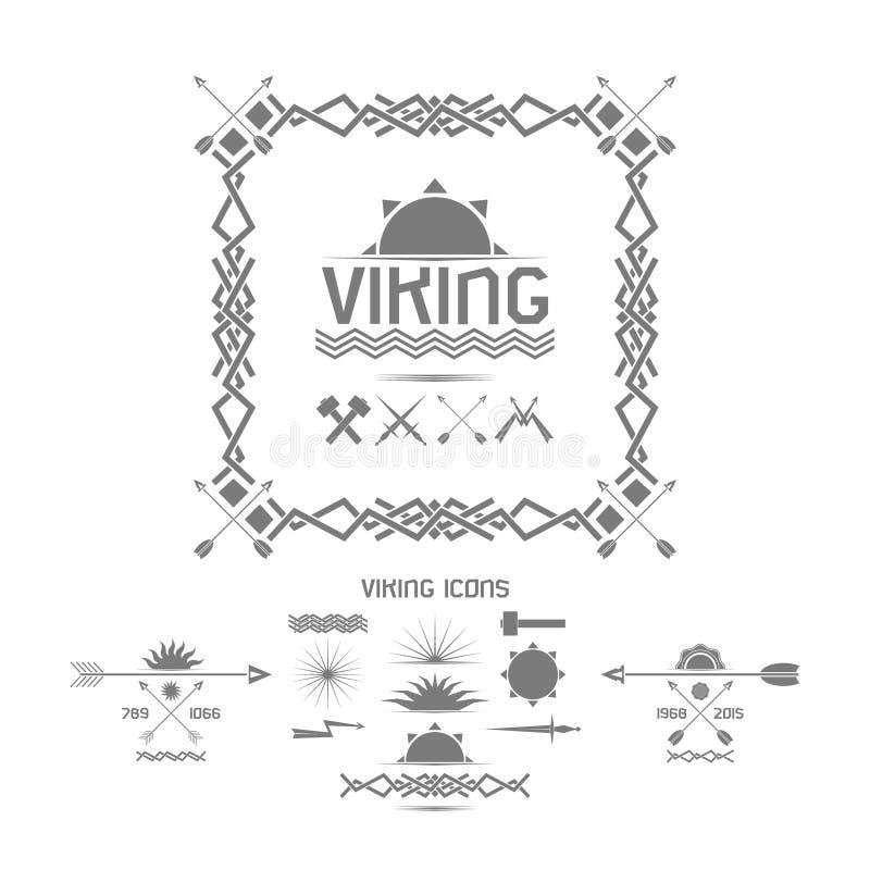 Значки Викинга, элементы дизайна иллюстрация вектора