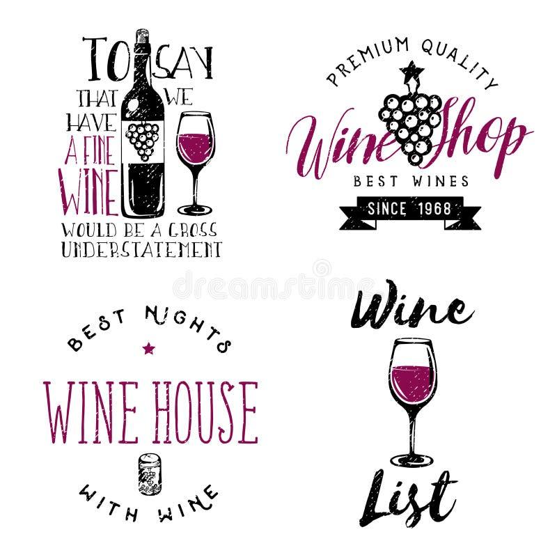 Значки вина тематические, логотипы, ярлыки в винтажном стиле бесплатная иллюстрация