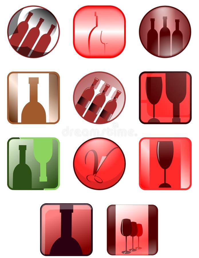 Значки вина иллюстрация штока