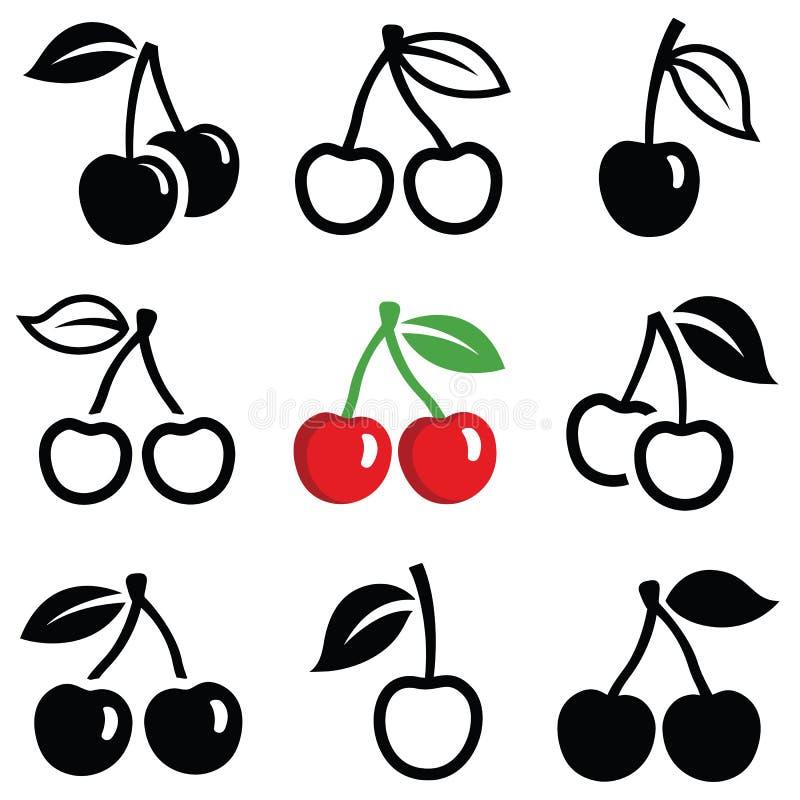 Значки вишни иллюстрация вектора