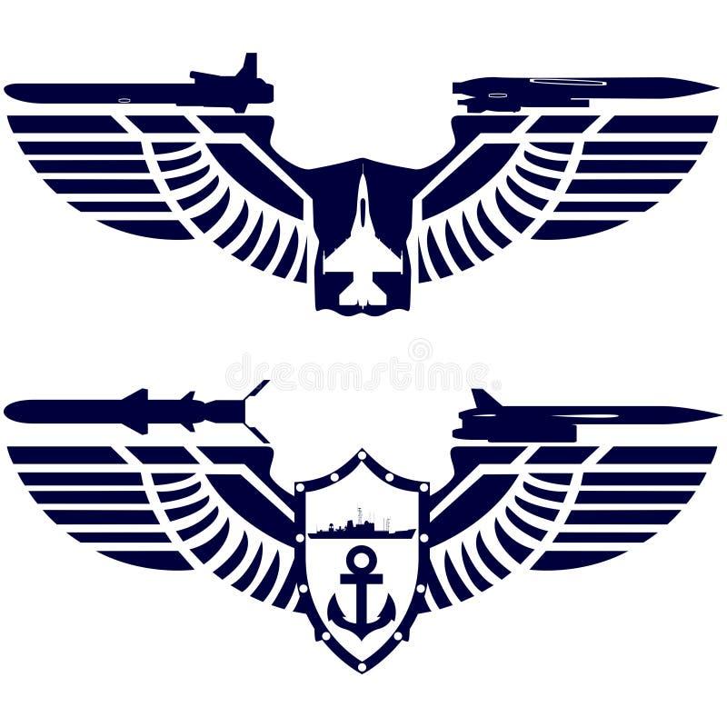 Значки военно-морского флота и военно-морского флота иллюстрация штока