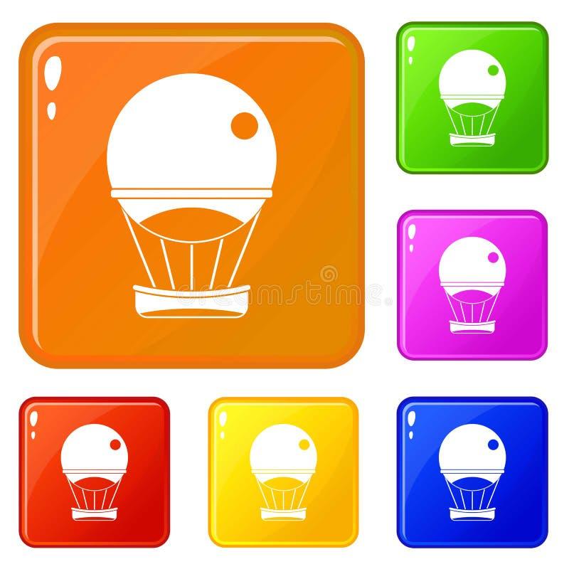 Значки воздушного шара аэростата установили цвет вектора бесплатная иллюстрация