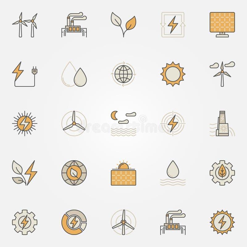Значки возобновляющей энергии красочные иллюстрация штока