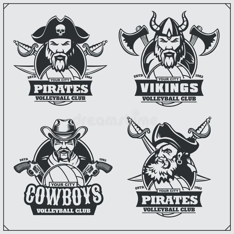Значки волейбола, ярлыки и элементы дизайна Эмблемы спортивного клуба с пиратом, ковбоем и Викингом иллюстрация штока