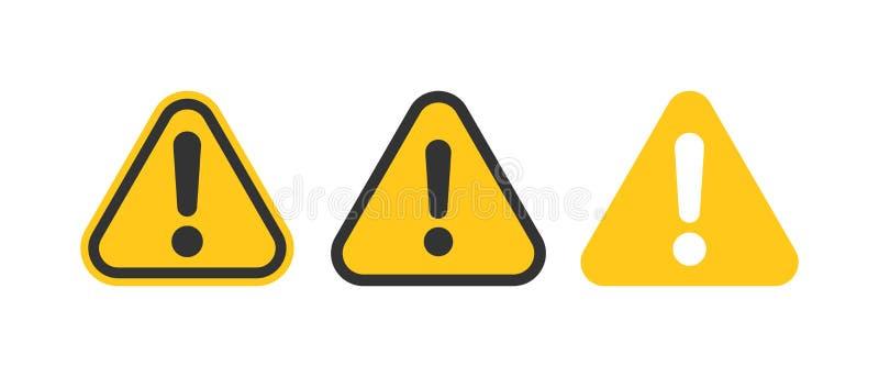 Значки восклицательного знака установленные в плоском стиле Иллюстрация вектора собрания сигнала тревоги опасности на белой изоли бесплатная иллюстрация