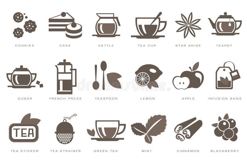 Значки времени чая линейные установили, печенье, торт, чайник, чашка, сахар, француз отжимают, чайная ложка, лимон, яблоко, сумка бесплатная иллюстрация